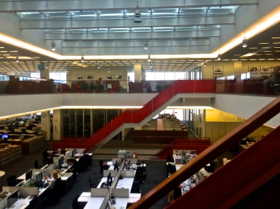The news room. Next week everyone will gather here for the announcement of the Pulitzer Prize winners.