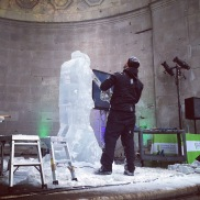 Carving Romeo and Juliet out of ice at the Central Park Ice Festival.
